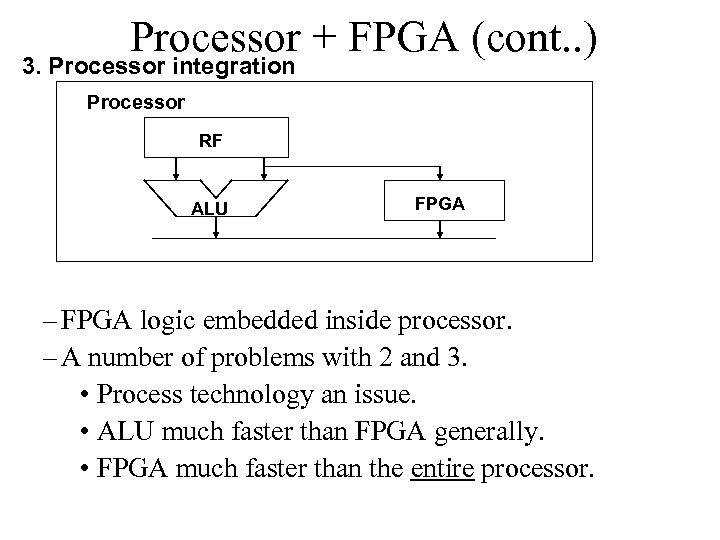 Processor + FPGA (cont. . ) 3. Processor integration Processor RF ALU FPGA –