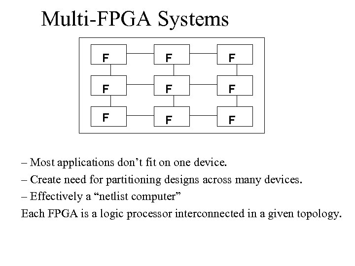 Multi-FPGA Systems F F F F F – Most applications don't fit on one