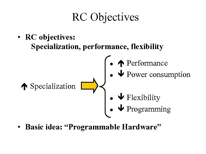 RC Objectives • RC objectives: Specialization, performance, flexibility l l Performance Power consumption Specialization