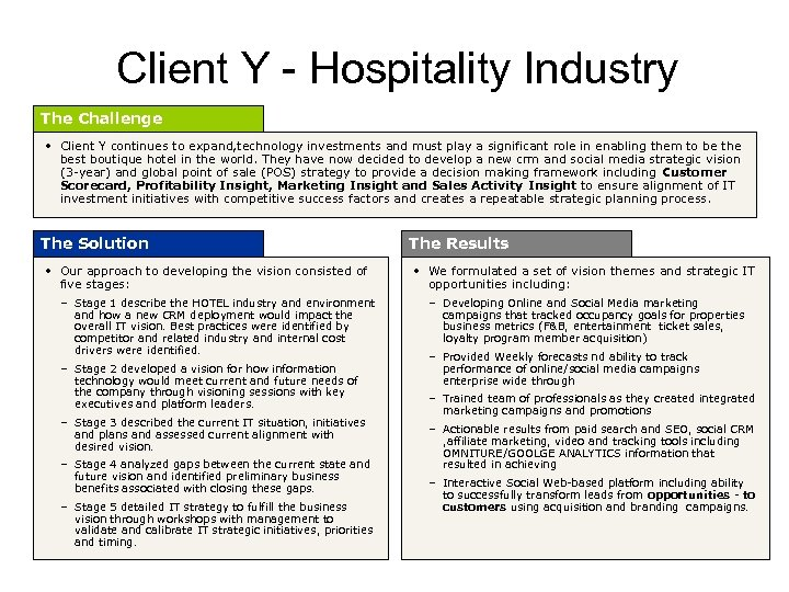 Client Y - Hospitality Industry The Challenge • Client Y continues to expand, technology