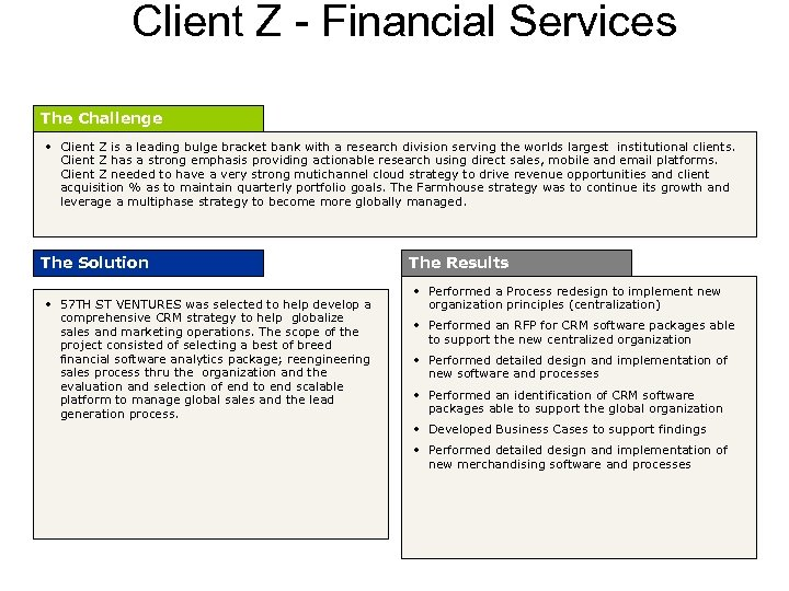 Client Z - Financial Services The Challenge • Client Z is a leading bulge