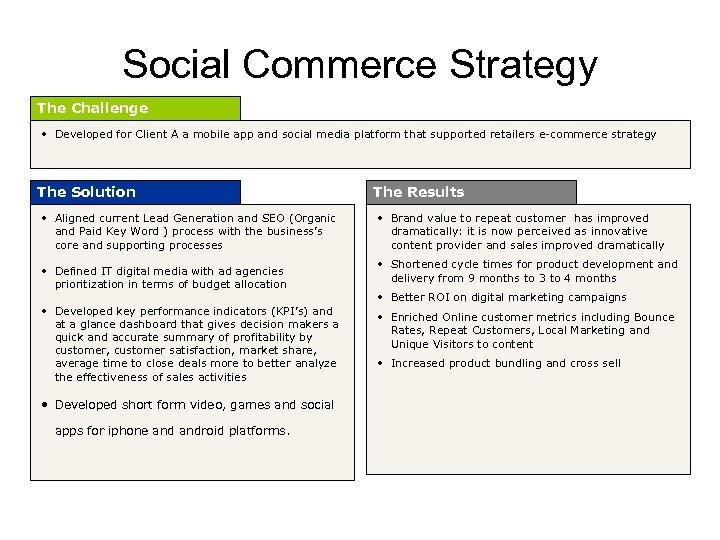 Social Commerce Strategy The Challenge • Developed for Client A a mobile app and