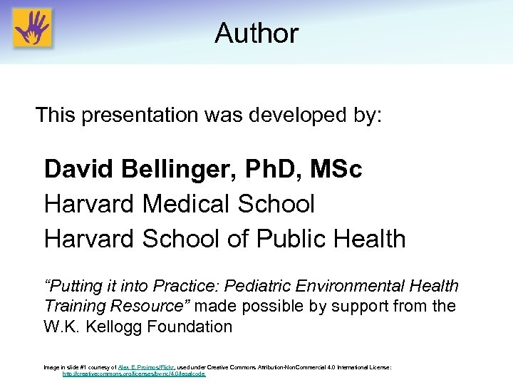 Author This presentation was developed by: David Bellinger, Ph. D, MSc Harvard Medical School