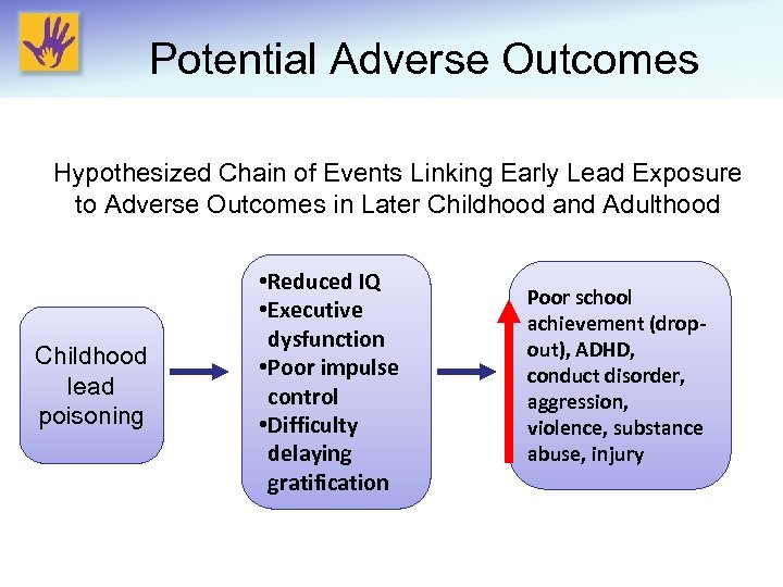Potential Adverse Outcomes Hypothesized Chain of Events Linking Early Lead Exposure to Adverse Outcomes