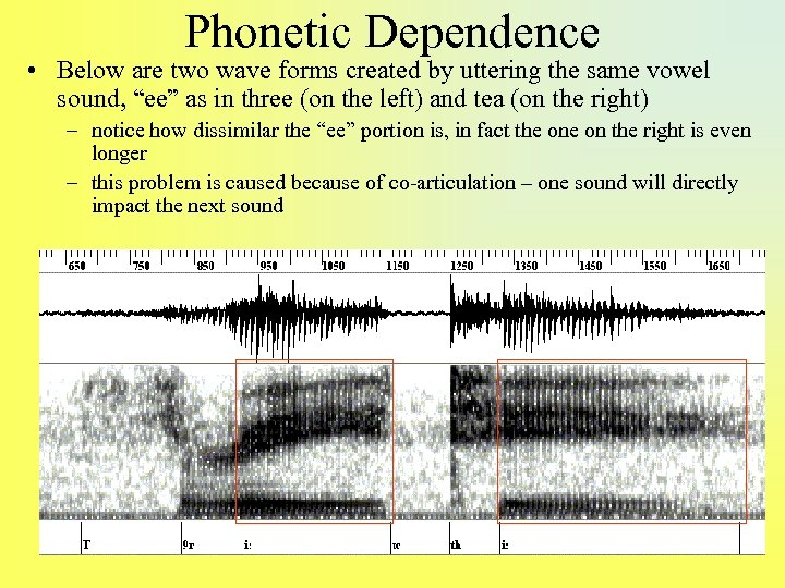 Phonetic Dependence • Below are two wave forms created by uttering the same vowel