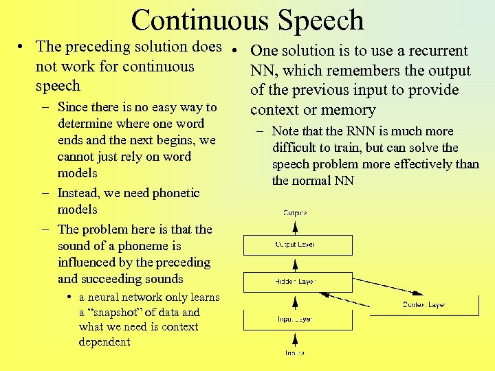 Continuous Speech • The preceding solution does • One solution is to use a