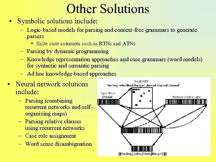 Other Solutions • Symbolic solutions include: – Logic-based models for parsing and context-free grammars