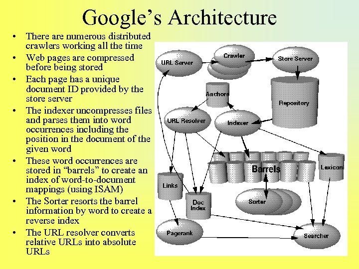Google's Architecture • There are numerous distributed crawlers working all the time • Web