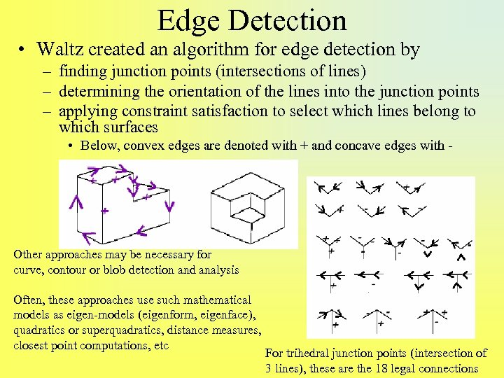 Edge Detection • Waltz created an algorithm for edge detection by – finding junction