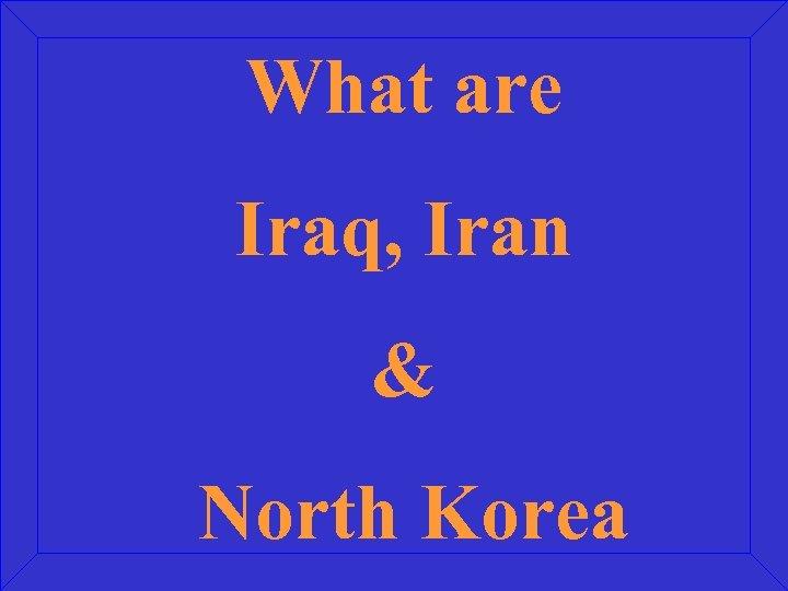 What are Iraq, Iran & North Korea