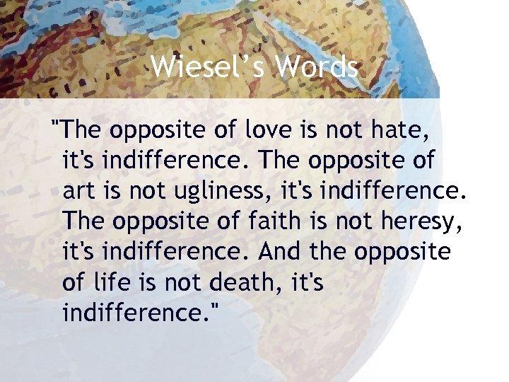 Wiesel's Words
