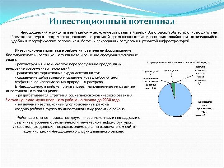 Инвестиционный потенциал Чагодощенский муниципальный район – экономически развитый район Вологодской области, опирающийся на богатое