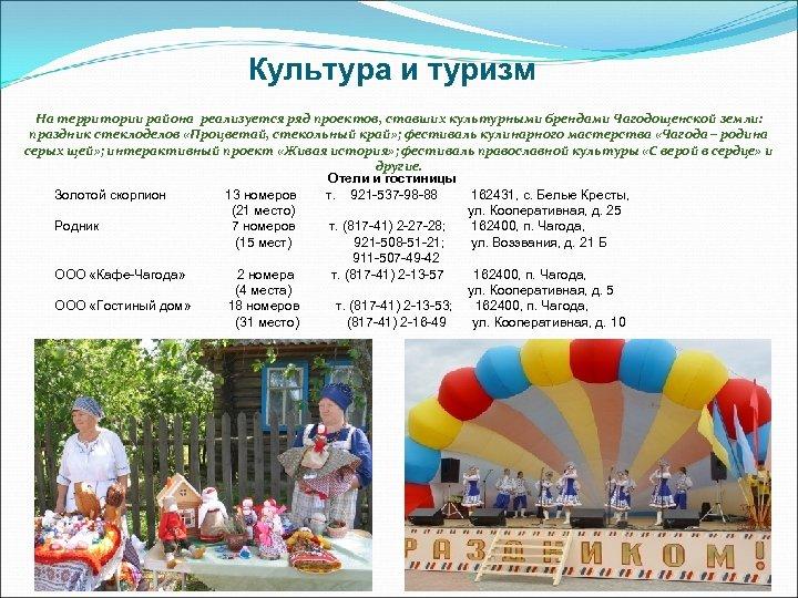 Культура и туризм На территории района реализуется ряд проектов, ставших культурными брендами Чагодощенской земли: