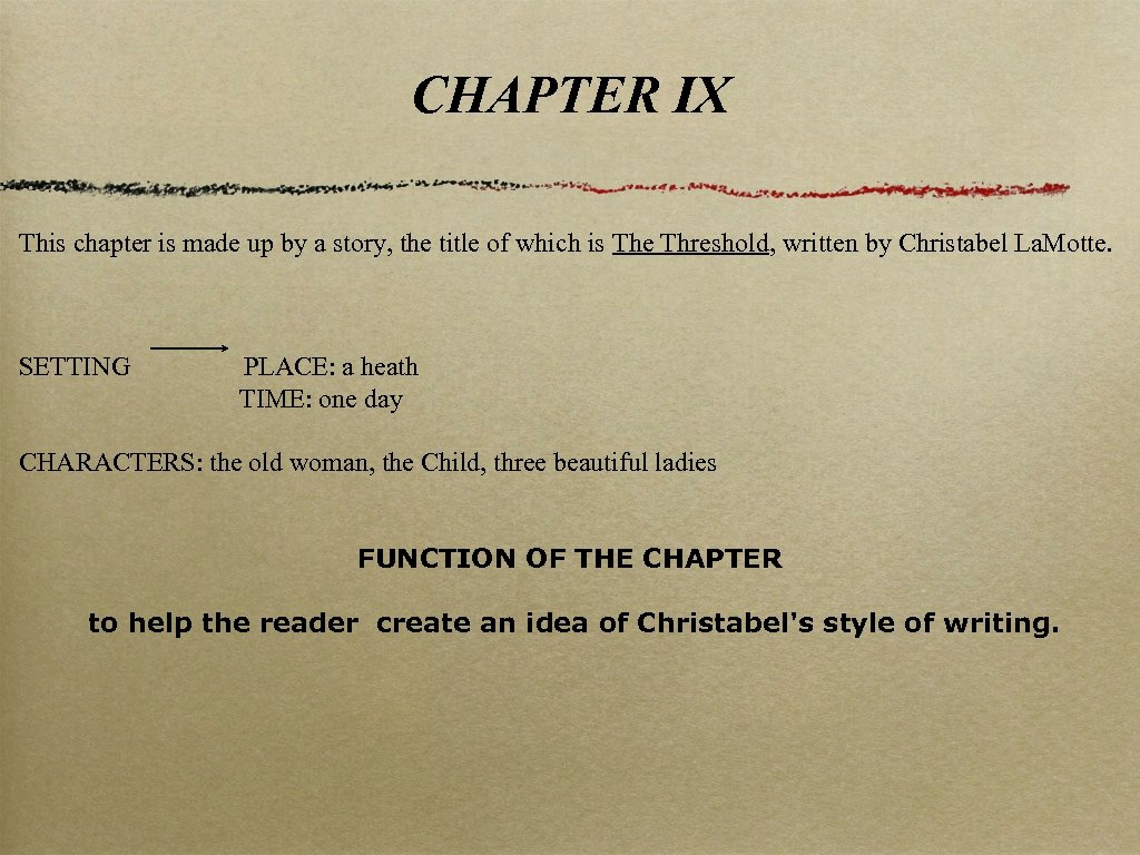 CHAPTER IX This chapter is made up by a story, the title of which