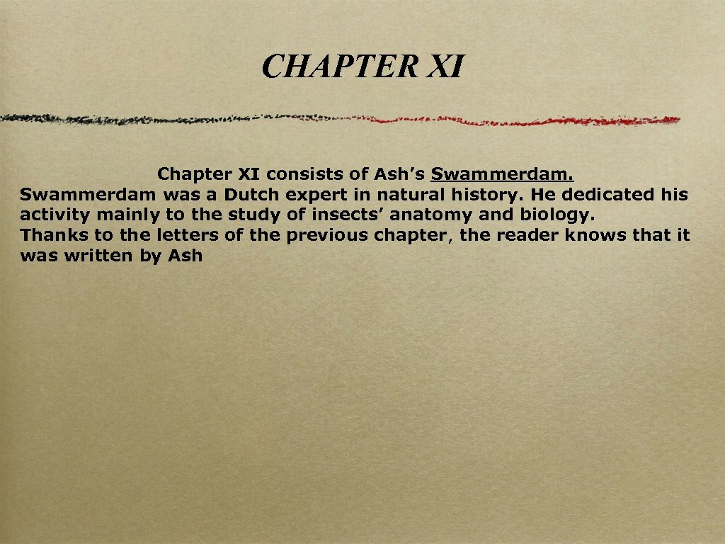 CHAPTER XI Chapter XI consists of Ash's Swammerdam was a Dutch expert in natural