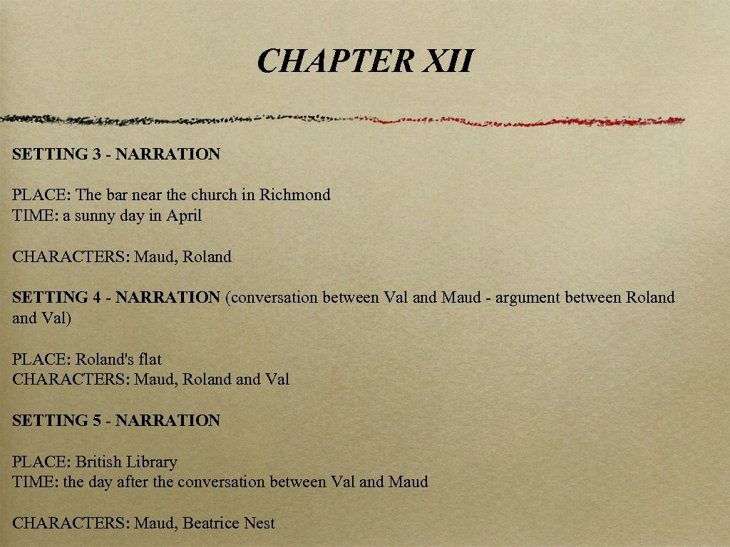 CHAPTER XII SETTING 3 - NARRATION PLACE: The bar near the church in Richmond