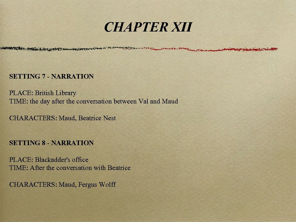 CHAPTER XII SETTING 7 - NARRATION PLACE: British Library TIME: the day after the