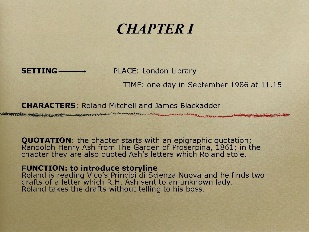 CHAPTER I SETTING PLACE: London Library TIME: one day in September 1986 at 11.