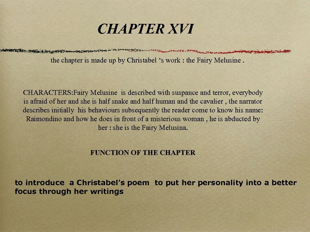 CHAPTER XVI the chapter is made up by Christabel 's work : the Fairy