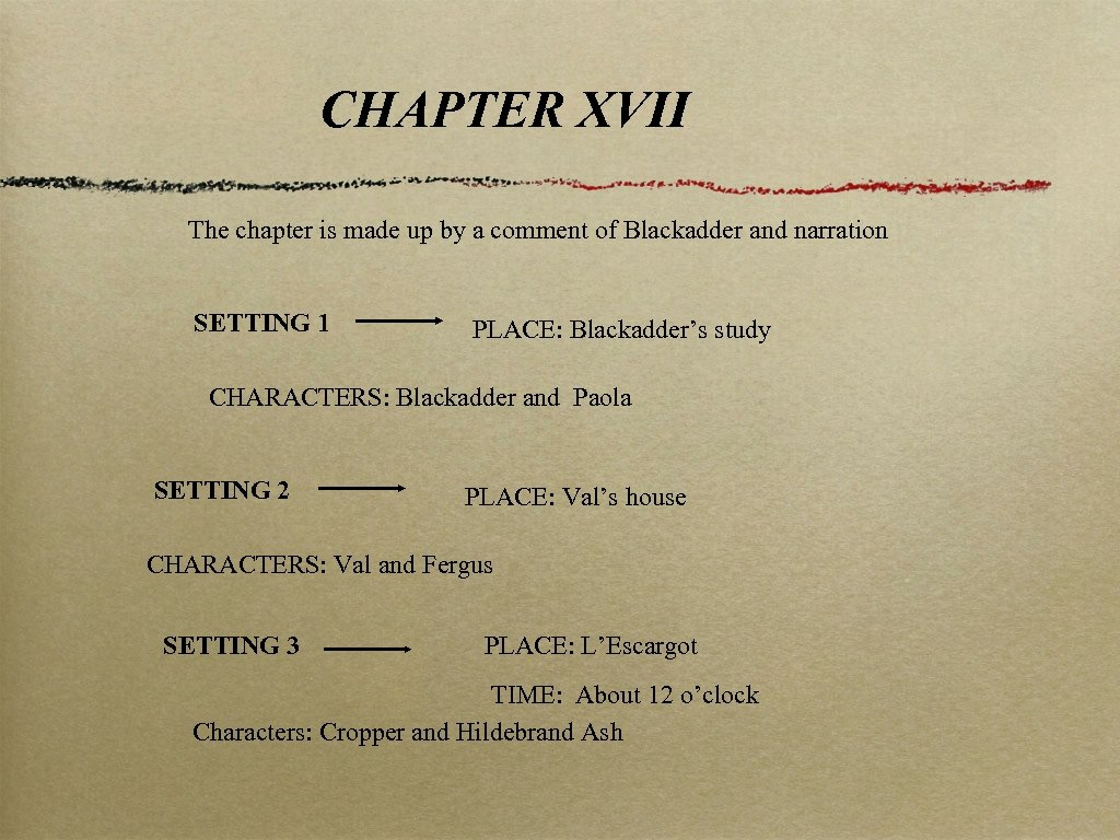CHAPTER XVII The chapter is made up by a comment of Blackadder and narration