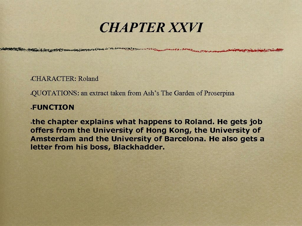 CHAPTER XXVI CHARACTER: Roland • QUOTATIONS: an extract taken from Ash's The Garden of