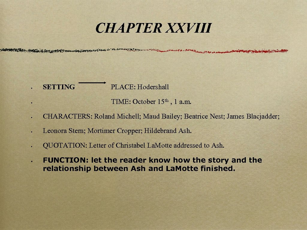 CHAPTER XXVIII • SETTING • TIME: October 15 th , 1 a. m. •
