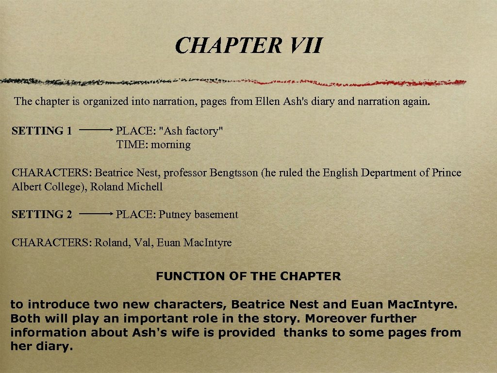 CHAPTER VII The chapter is organized into narration, pages from Ellen Ash's diary and