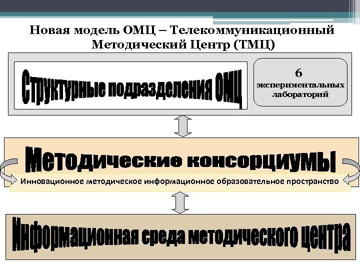 Новая модель ОМЦ – Телекоммуникационный Методический Центр (ТМЦ) 6 экспериментальных лабораторий Инновационное методическое информационное