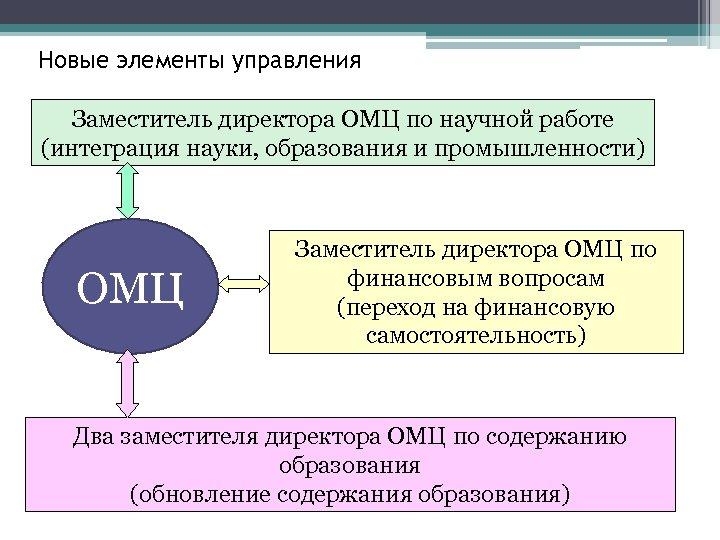 Новые элементы управления Заместитель директора ОМЦ по научной работе (интеграция науки, образования и промышленности)