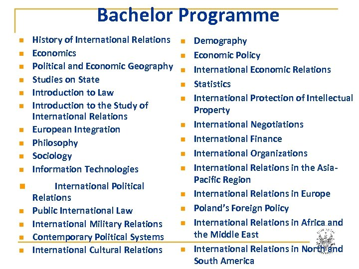 Bachelor Programme n n n n History of International Relations Economics Political and Economic