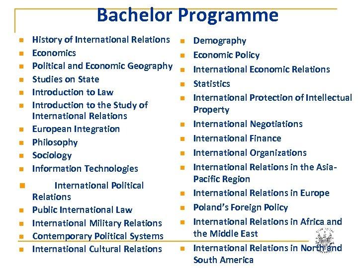 Bachelor Programme n n n n History of International Relations Economics Political and Economic