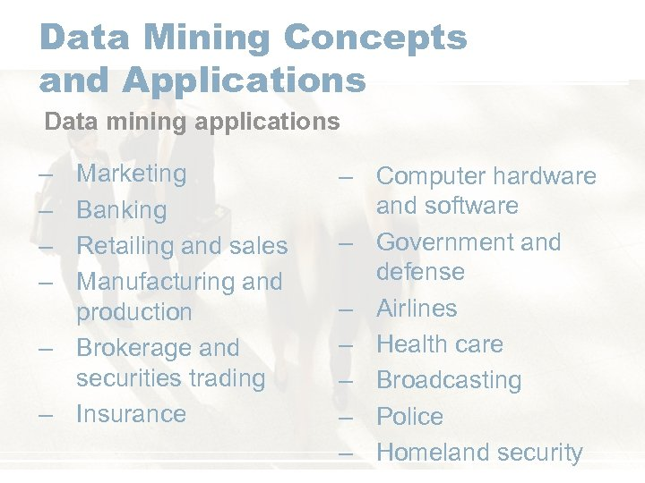 Data Mining Concepts and Applications Data mining applications – – Marketing Banking Retailing and