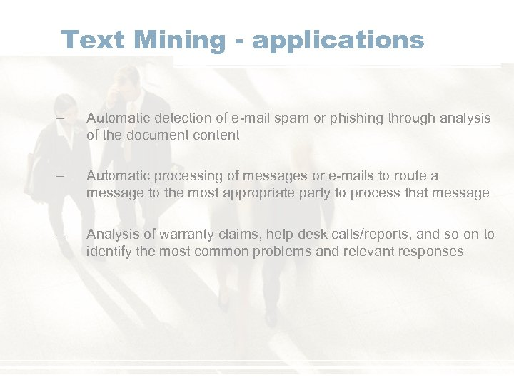 Text Mining - applications – Automatic detection of e-mail spam or phishing through analysis
