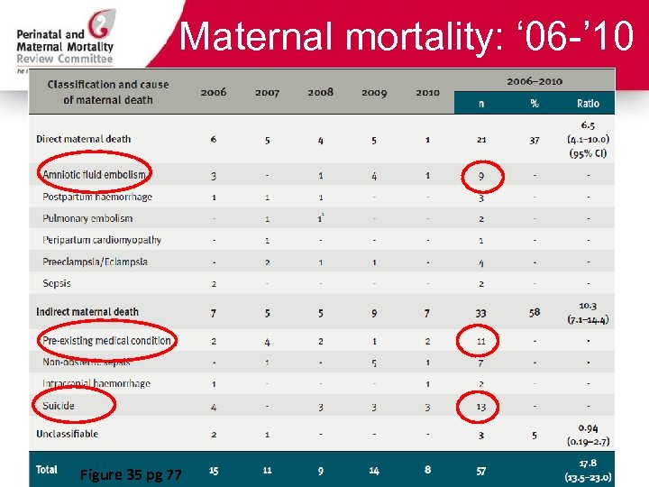 Maternal mortality: ' 06 -' 10 Figure 35 pg 77