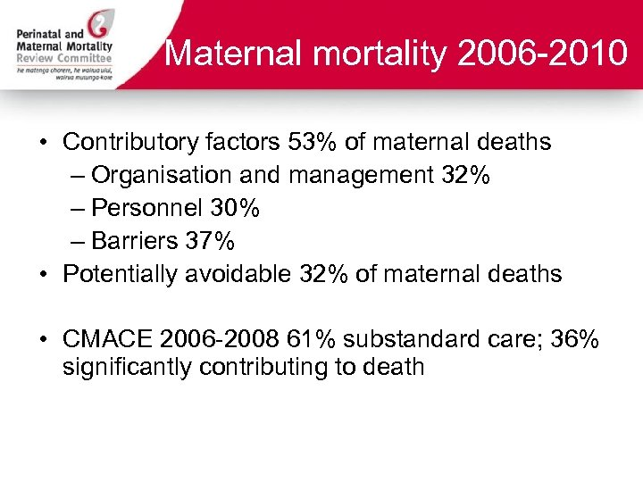 Maternal mortality 2006 -2010 • Contributory factors 53% of maternal deaths – Organisation and