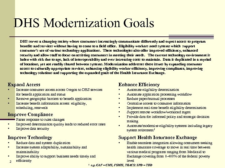DHS Modernization Goals DHS serves a changing society where consumers increasingly communicate differently and