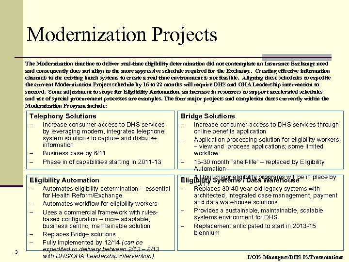 Modernization Projects The Modernization timeline to deliver real-time eligibility determination did not contemplate an