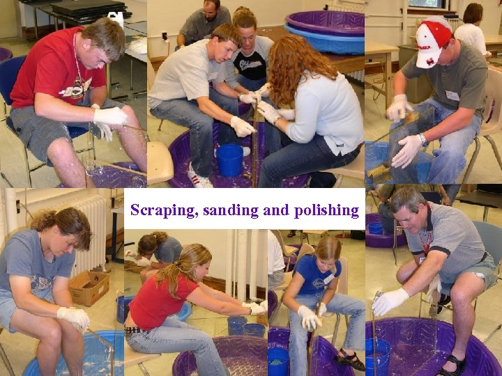Scraping, sanding and polishing