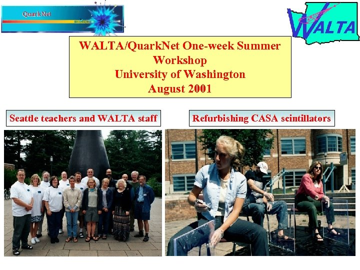 WALTA/Quark. Net One-week Summer Workshop University of Washington August 2001 Seattle teachers and WALTA