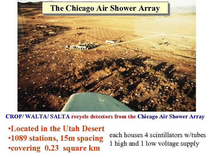 The Chicago Air Shower Array CROP/ WALTA/ SALTA recycle detectors from the Chicago Air