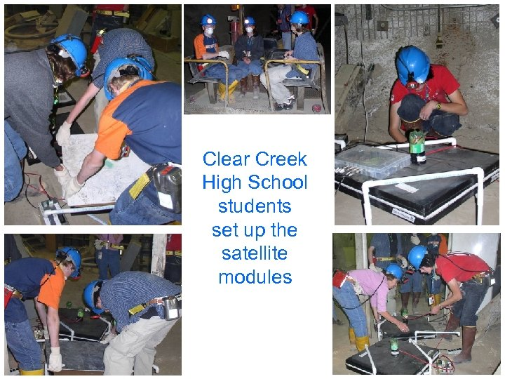 Clear Creek High School students set up the satellite modules