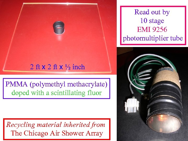 Read out by 10 stage EMI 9256 photomultiplier tube 2 ft x ½ inch