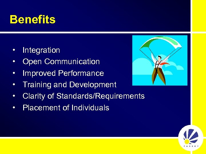 Benefits • • • Integration Open Communication Improved Performance Training and Development Clarity of