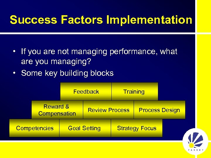 Success Factors Implementation • If you are not managing performance, what are you managing?