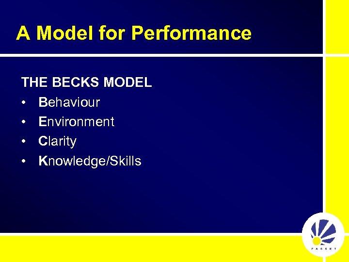 A Model for Performance THE BECKS MODEL • Behaviour • Environment • Clarity •
