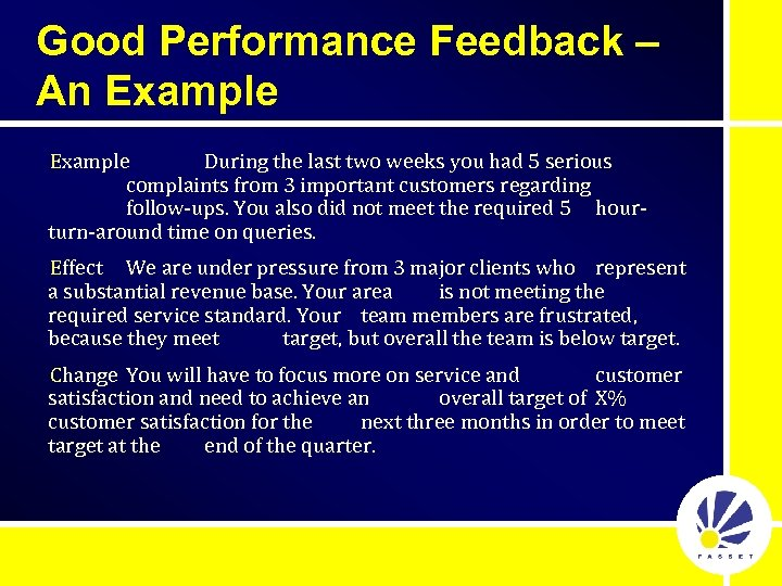 Good Performance Feedback – An Example During the last two weeks you had 5