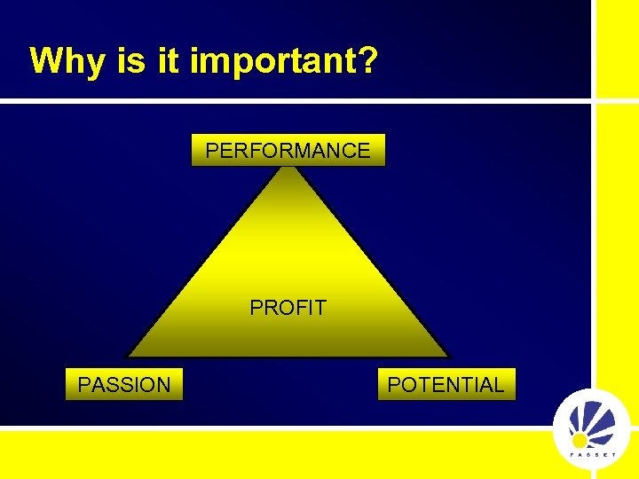 Why is it important? PERFORMANCE PROFIT PASSION POTENTIAL