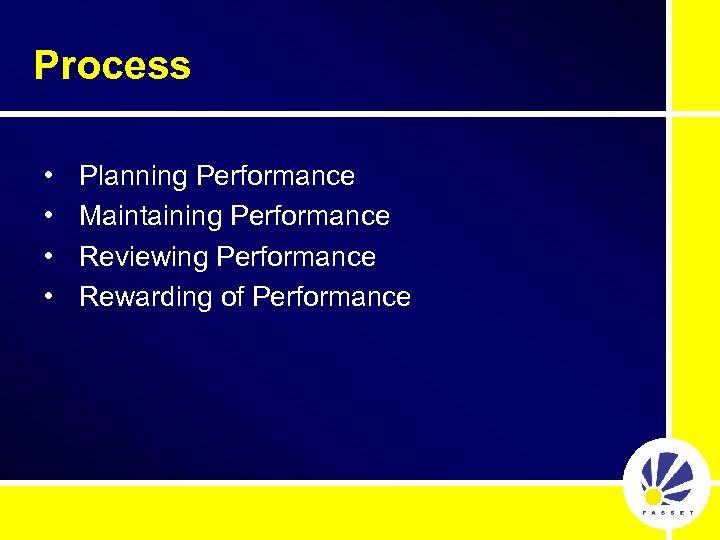 Process • • Planning Performance Maintaining Performance Reviewing Performance Rewarding of Performance