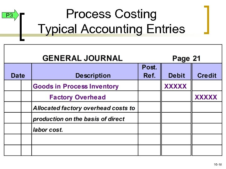 P 3 Process Costing Typical Accounting Entries 16 -18