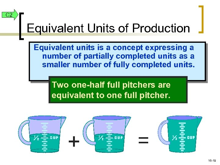 C 2 Equivalent Units of Production Equivalent units is a concept expressing a number